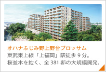 桜並木を抱くパークビューレジデンス、全381邸の大規模開発。東武東上線「上福岡」駅徒歩9分。「オハナ ふじみ野上野台ブロッサム」